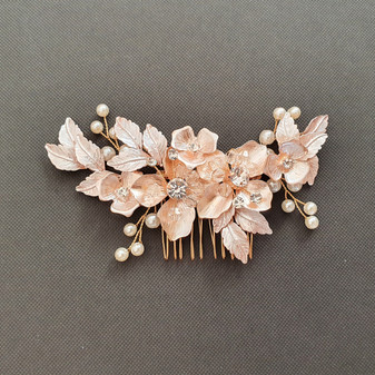 Gold Hair Comb with Flower and Leaf-Azalea