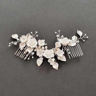 Double Comb Bridal Hairpiece with White Flowers-Blossom