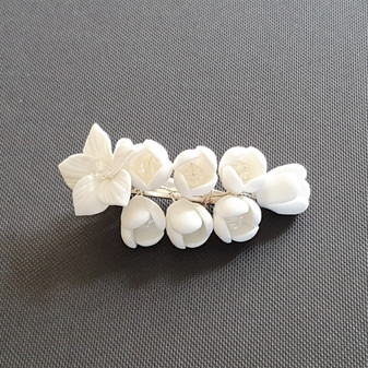 Bridal Hair Clip with White Flowers-Lilac