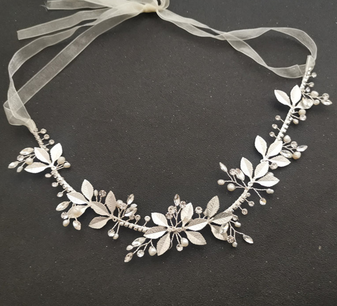 Leaf Bridal Headband with Pearl and Crystals-Violet