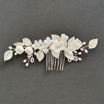 Small Flower and Leaf Hair Comb Silver-Fairy