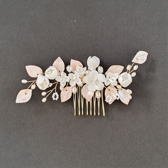 Small Flower Rose Gold Leaf Hair Comb- Fairy