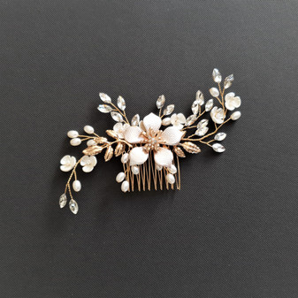 Jewelled Gold Hair Comb for Weddings -Freya