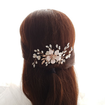 Jewelled Rose Gold Bridal Hair Comb with Pearl & Crystal Leaves-Freya