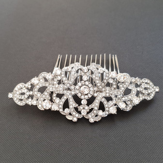 Vintage Crystal Hair Comb for Weddings-Seraphina