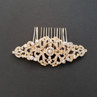 Vintage Design Bridal Hair Comb in Gold- Seraphina