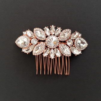 Rose Gold Crystal Wedding Hair Comb-Sophia