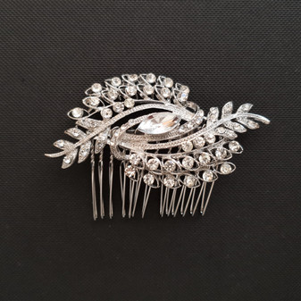 Peacock Hair comb for Brides-Paonne