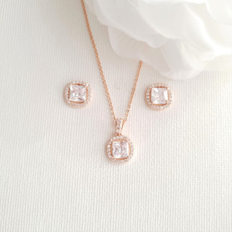 Wedding Jewellery Set for Bridesmaid in Rose Gold-Piper