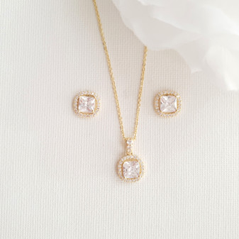 Gold Bridesmaids Jewellery Sets-Piper