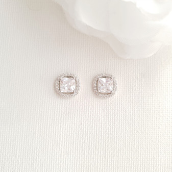 Stud Earrings for Bridesmaids Silver-Piper