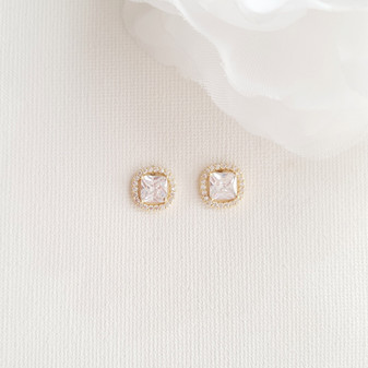 Gold Stud Earrings for Bridal Party-Piper
