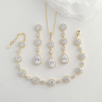 Jewellery Set of Gold Earrings Necklace Bracelet for Your Wedding Day-Reagan