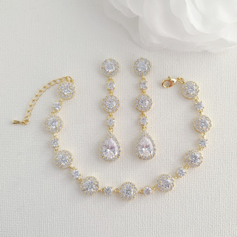 Round Crystal Earrings and Bracelet Set in Gold for Brides-Reagan