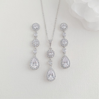 Earrings With Long Pendant Necklace Wedding Jewelry Set-Reagan