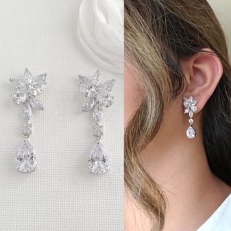 Floral Bridal Earrings with Teardrops-Ivy