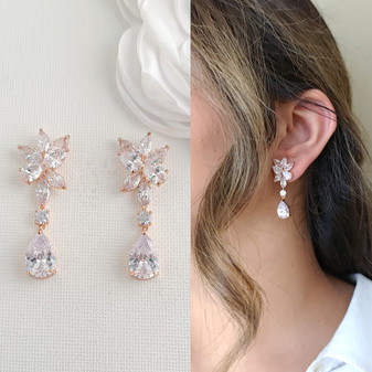 Rose Gold Floral and Teardrop Earrings For Brides-Ivy