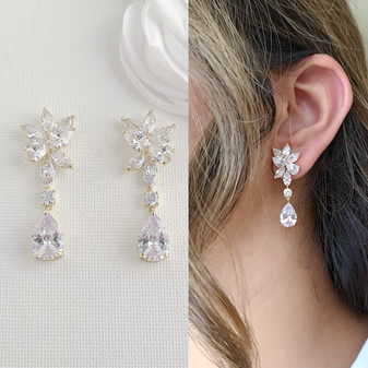 Gold Floral Bridal Earrings with Teardrops-Ivy
