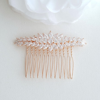 Marquise Hair Comb for Brides in Rose Gold-Giselle