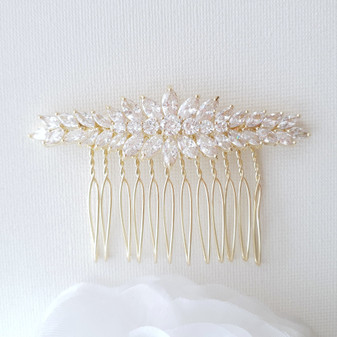 Yellow Gold Hair Comb for Wedding-Giselle
