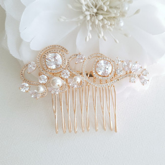 Small Wedding Hair Comb in Rose Gold-Casey