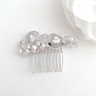 Small Bridal Hair Comb for Veil-Casey