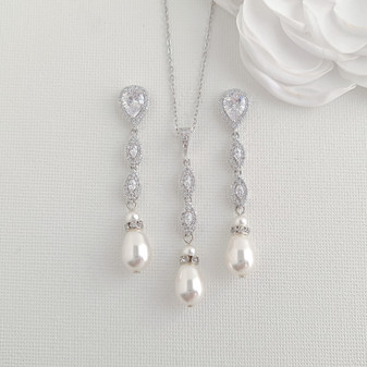 Silver Bridal Jewellery Set with Pearls- Abby