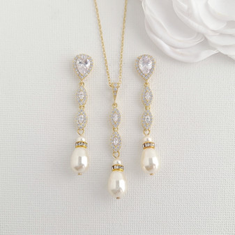 Gold and Pearl Jewellery Set for Wedding-Abby