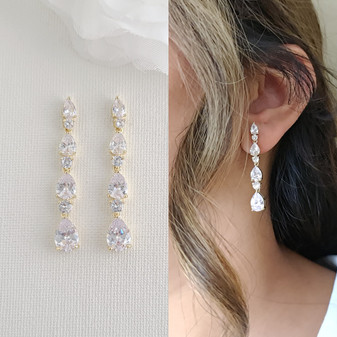 Gold Earrings for Wedding and Formal Made of Small Teardrops-Hazel