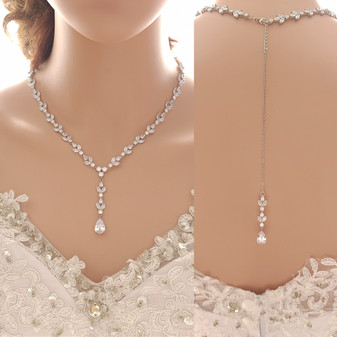 Statement Wedding Necklace With or Without Backdrop-Anya