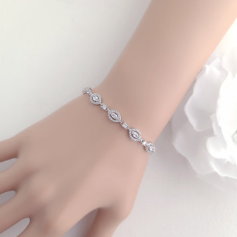Marquise Bracelet in Cubic Zirconia for Brides-Abby