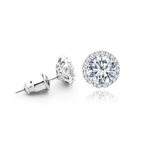 Small Stud Earrings Made with 8mm Round Cubic Zirconia.