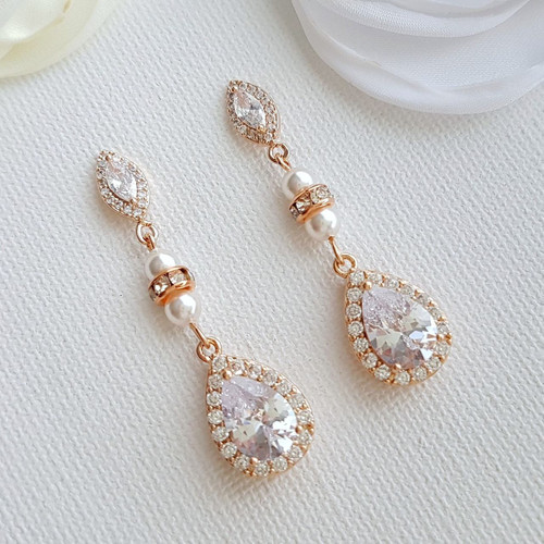 f448a98c8 Crystal Rose Gold Bridal Earrings Bridesmaid Earrings Drop Wedding Earrings  Swarovski Pearls CZ Earrings Wedding Jewelry, Ella