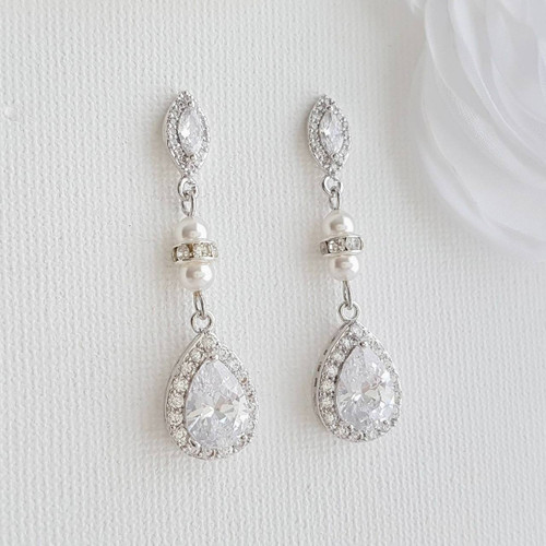 f0af0e7fe ... Crystal Rose Gold Bridal Earrings Bridesmaid Earrings Drop Wedding  Earrings Swarovski Pearls CZ Earrings Wedding Jewelry