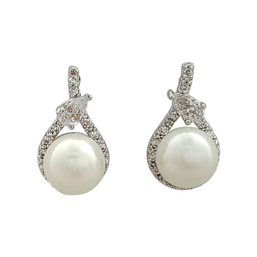 Teardrop Stud Earrings with pearl