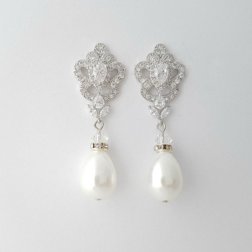 Bridal Wedding Earrings In Pearl Crystals For Brides Bridesmaids