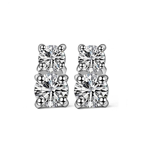 Double Stone Stud Earrings