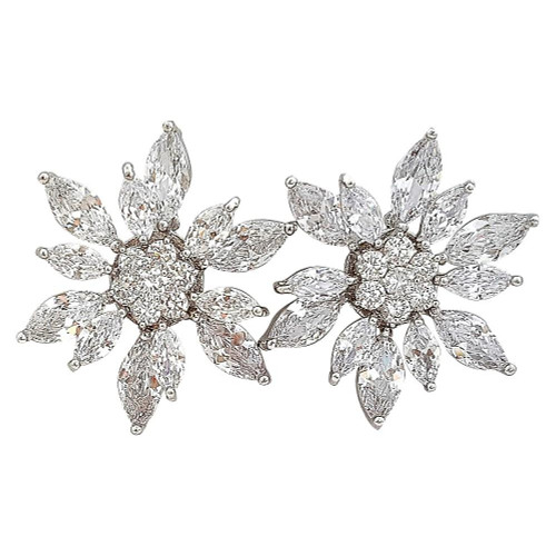 Big Flower Stud Earrings for Weddings