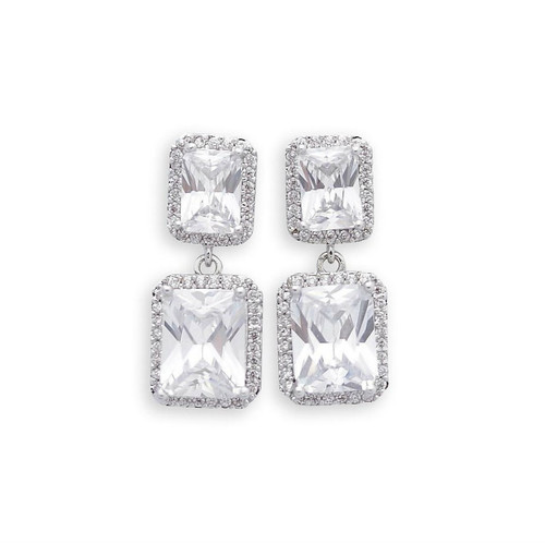 Cubic Zirconia Rectangle Drop Earring for Brides, weddings and Events