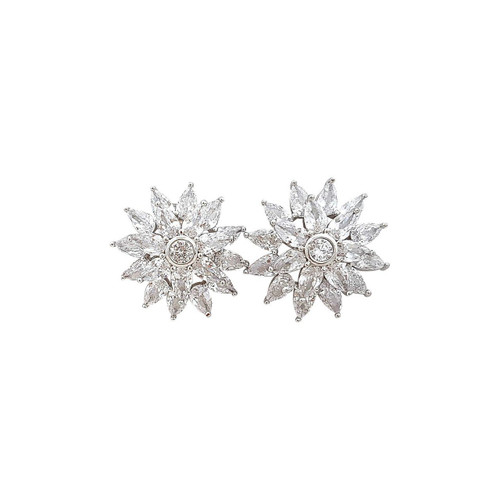 Flower Stud Earrings in Cubic Zirconia