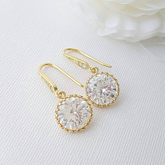 Bridesmaid Gift Gold Earrings, Gold Bridesmaid Earrings, Dangle Earrings, Drop Earrings, Bridal earrings, Stocking Stuffer, Sale