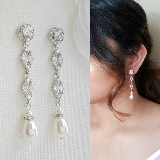 Long Pearl Drop Earrings for Weddings- Poetry Designs