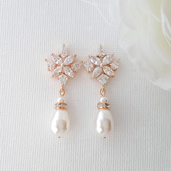 Rose Gold Bridal Earrings with Pearl Drops- Rosa