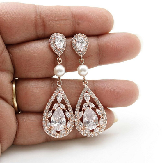 Rose Gold CZ Crystal Earrings for Weddings & Brides-Esther