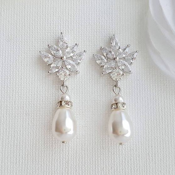 Crystal Bridal Earrings with Pearl Drop- Rosa