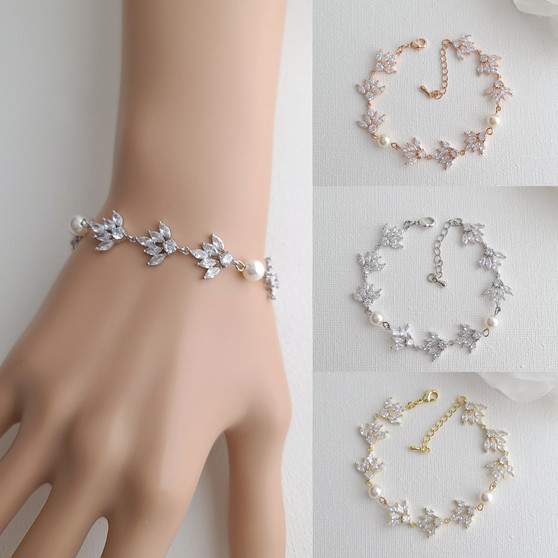 Silver Cubic Zirconia Wedding Bracelet with Pearls-Rosa