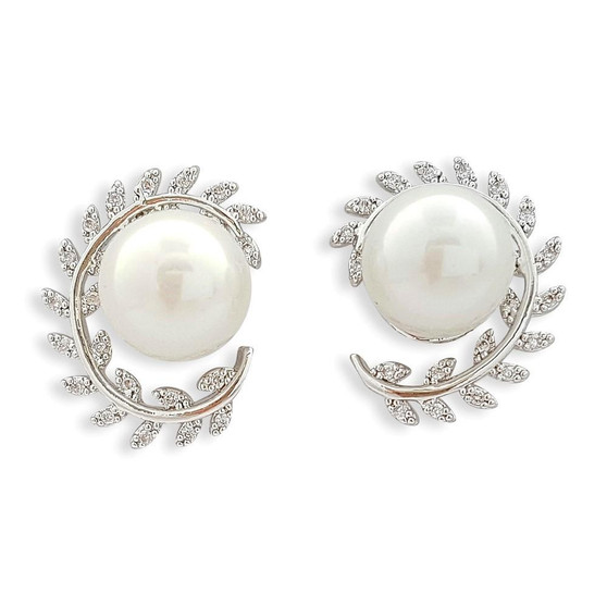 Silver Leaf Stud Earrings with pearls for Brides