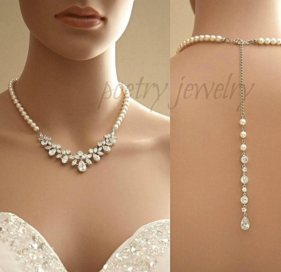 Back Bridal Necklace in Crystal and Pearl Backdrop for Wedding-Nicole