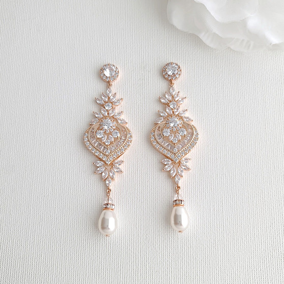Long Rose Gold Chandelier Wedding Earrings- Poetry Designs