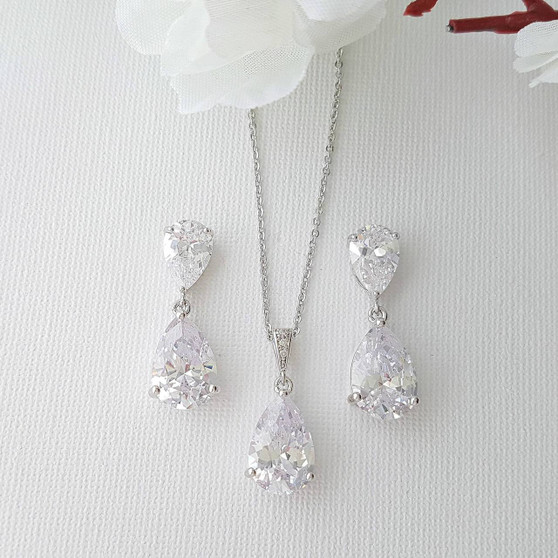 Crystal Bridal Jewelry with Earrings Necklace Set-Clara